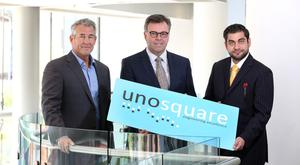Pictured at the announcement of the new investment are (l-r) Mike Barrett, CEO Unosquare, Alastair Hamilton, Invest Northern Ireland Chief Executive, and Giancarlo Di Vece, President, Unosquare . Press Eye - Belfast - Northern Ireland - 25th April 2017 - Photo by William Cherry