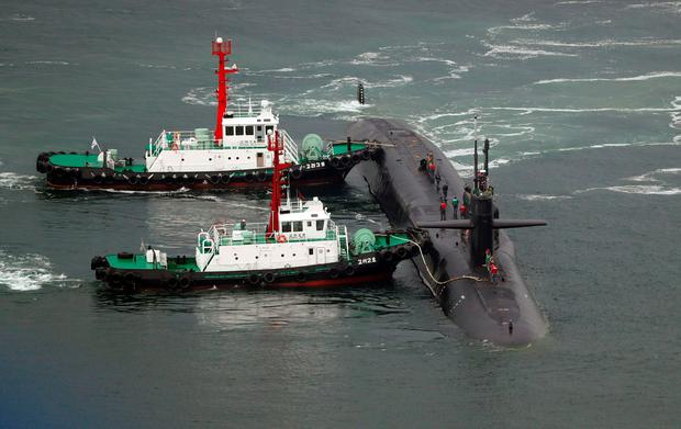Nuclear-powered submarine USS Michigan approaches at the southeastern port city of Busan on April 25, 2017. AFP/Getty Images