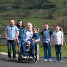 John McNaughton from Glenariff with his kids, Shannon (3), Shea (13), Clodagh (11), Eoin (8) and Ruairi (6)