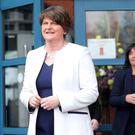 DUP leader Arlene Foster visits Our Lady's Grammar School in Newry and meets pupils and staff to discuss the Irish Language. Arlene Foster pictured leaving the school after the visit followed by Principal Fiona McAlinden Picture by Jonathan Porter/PressEye.com