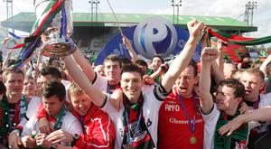 Paul Leeman lifts the Gibson Cup after Glentoran's final-day victory in 2009, the last time the east Belfast men won the league.