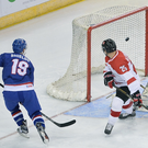 Star man: Colin Shields scores for Great Britain at the SSE Arena last night