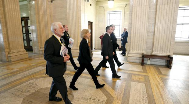 POBAL's director Janet Muller leads a delegation into Parliament Building, Stormont ahead of meeting DUP leader Arlene Foster to discuss the the development and protection of the Irish language and the great variety of work being carried out by Irish language groups. Press Eye - Northern Ireland - 27th April 2017 - Photographer - © Matt Mackey / Presseye.com