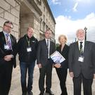 POBAL's director Janet Muller leads a delegation into Parliament Building, Stormont ahead of meeting DUP leader Arlene Foster. Pic Matt Mackey / Presseye.com