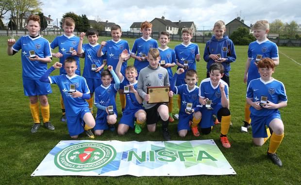 NISFA Minor U12 Plate Abbey Community College v Ballyclare Secondary Ballyclare Secondary winner of the NISFA Minor U12 Plate during the NISFA Finals Day at Ballymena Showgrounds Picture by Brian Little/PressEye