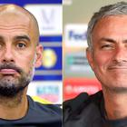 Manchester City's head coach Pep Guardiola and Manchester United manager Jose Mourinho. AFP/Getty Images