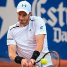 Powerful: Top seed Andy Murray on the way to victory over Feliciano Lopez in the Barcelona Open yesterday