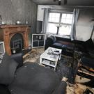 The scene at Walnut Park in Larne, Co. Antrim, where a petrol bomb was thrown through the window of the house this morning. Two people who were in the house escaped uninjured. Picture by Jonathan Porter/PressEye.com