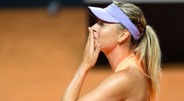 Russia's Maria Sharapova after she defeated Russia's Ekaterina Makarova in their second round match at the WTA Tennis Grand Prix in Stuttgart, southwestern Germany, on April 27, 2017. AFP/Getty Images