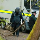 Police and ATO at the scene of a suspected pipe bomb find in Colin Glen Forest Park , west Belfast on April 28th 2017 (Photo - Kevin Scott / Belfast Telegraph)