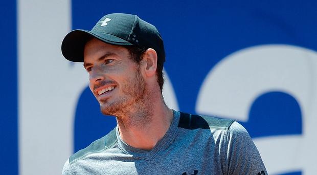 Thumbs up: Andy Murray is into the Barcelona Open semis