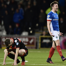 Job done: Linfield's Niall Quinn celebrates victory at Seaview this season