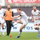 Ospreys v Ulster - Guinness PRO12: Paddy Jackson of Ulster kicks at goal. Photo: Press Eye