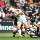 Press Eye - Belfast - Northern Ireland - 29th April 2017 - 29.04.17 - Ospreys v Ulster - Guinness PRO12 - Rory Best of Ulster is tackled by Tyler Ardron and Tom Habberfield of Ospreys.