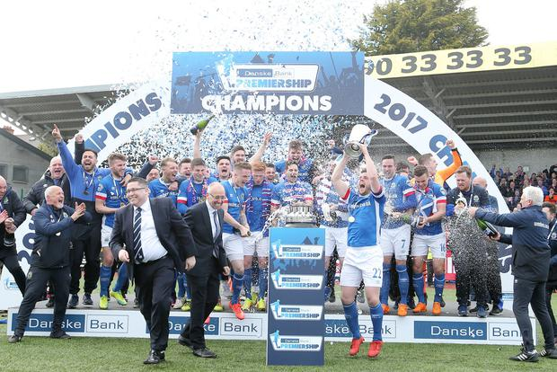 Linfield lift the trophy after wining the league. Picture by Jonathan Porter/PressEye.com