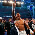 Anthony Joshua celebrates victory over Wladimir Klitschko. Pic Nick Potts/PA Wire.