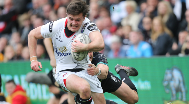 Lone scorer: Ulster's Jacob Stockdale charges towards the line to grab his team's only try of the day