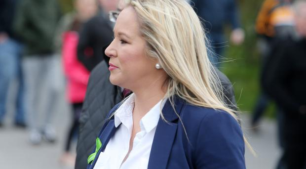 Sinn Fein's Stormont leader Michelle O'Neill speaks at a commemoration held in Cappagh, Co. Tyrone, for eight members of the IRA who were killed by the SAS as they were about to attack Loughgall RUC station in May 1987.