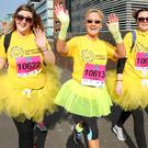 2017 Deep RiverRock Belfast City Marathon, Northern Ireland. Joanie Marcus, Charlene McDonald, and Ashlee Kilpatrick take part in the marathon. Picture: Philip Magowan / PressEye