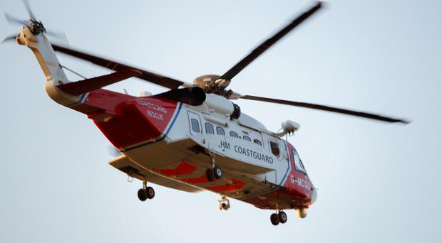 Coastguard helicopter at Belfast City Airport. Photo: Adam Fawcett