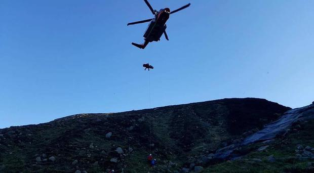 The man remains in a critical condition in hospital. Pic Mourne Mountain Rescue Team