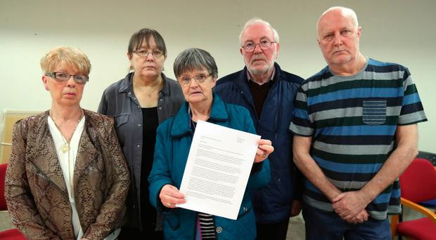 Priscilla Clarke, Pat Irvine, Margaret McCready, Tommy McCready and Sam Irvine at Solicitor Kevin Winters offices in Belfast (l-r) (Niall Carson/PA Wire)