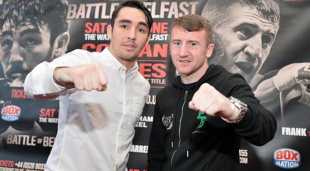 Star quality: Paddy Barnes (right) and Jamie Conlan ahead of the Battle of Belfast bill at the Waterfront Hall