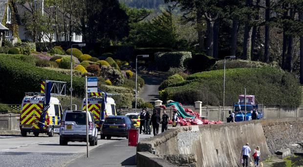 Police at the scene of the crash on the Rostrevor Road. Picture Newraypics.com