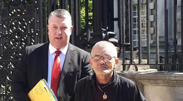 Belfast man James Goodall is trying to overturn his conviction for bombing a shirt factory in the city more than 40 years ago, pictured with his solicitor Fearghal Shiels outside the Court of Appeal today. Press Eye Ltd - Northern Ireland