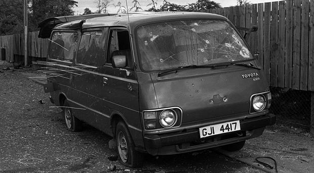 The bullet-riddled van in which eight IRA men were killed by the SAS
