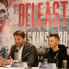 World ambition: Eddie Hearn and Ryan Burnett at the Europa Hotel
