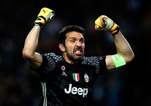 Gianluigi Buffon of Juventus celebrates after Gonzalo Higuain (not pictured) scores his sides second goal during the UEFA Champions League Semi Final first leg match between AS Monaco v Juventus at Stade Louis II on May 3, 2017 in Monaco, Monaco. (Photo by Julian Finney/Getty Images)