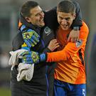 All smiles: David Healy and Mark Haughey have a good rapport
