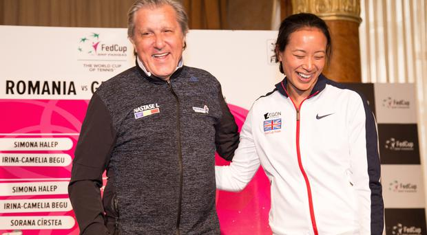 Before the row: Ilie Nastase and Anne Keothavong at Fed Cup