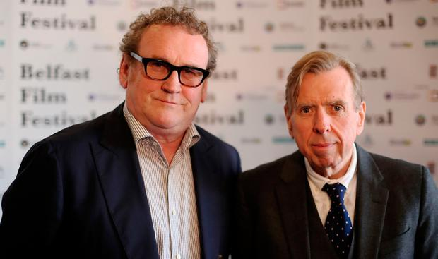 Colm Meaney (left) and Timothy Spall are interviewed before the UK Premier of The Journey at The Movie House in Belfast. PA