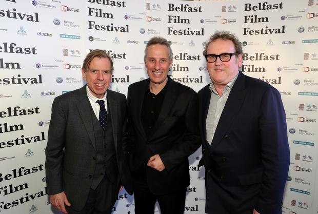 The Belfast Film Festival premiere of The Journey, in partnership with Movie House Cinemas took place in Belfast on Thursday 4 May. Pictured with Ian Paisley are actors Timothy Spall, and Colm Meaney. Photo by William Cherry/Press Eye