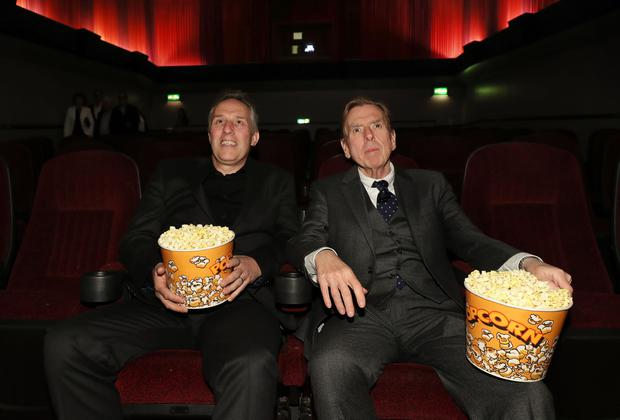 The Belfast Film Festival premiere of The Journey, in partnership with Movie House Cinemas took place in Belfast on Thursday 4 May. Pictured watching the movie are Ian Paisley and Timothy Spall. Photo by William Cherry/Press Eye