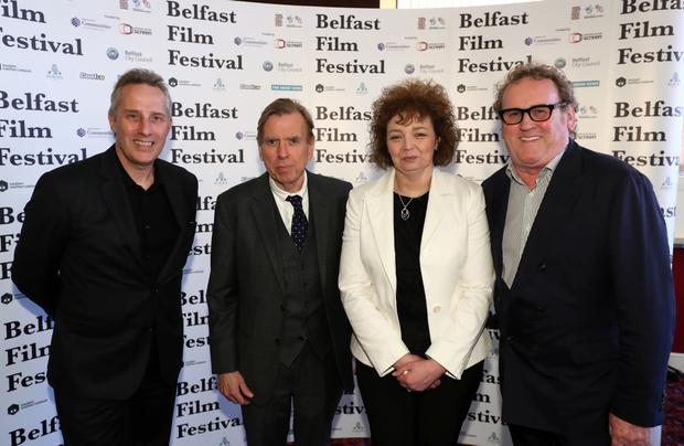 The Belfast Film Festival premiere of The Journey, in partnership with Movie House Cinemas took place in Belfast on Thursday 4 May. Pictured are Ian Paisley, Timothy Spall, and Car al Ni Chuilian, Colm Meaney. Photo by William Cherry/Press Eye