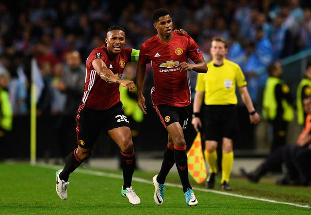 Marcus Rashford of Manchester United celebrates as he scores their first goal with Antonio Valencia during the UEFA Europa League semi final, first leg match between Celta Vigo and Manchester United at the Estadio Balaidos on May 4, 2017 in Vigo, Spain. (Photo by David Ramos/Getty Images)