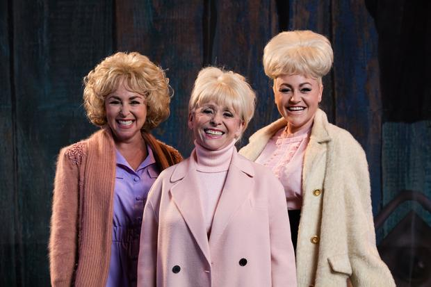 Barbara Windsor is flanked by actress Samantha Spiro and Jaime Winstone who play her in the BBC production Babs