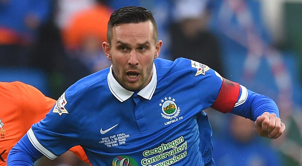 On the ball: Linfield striker Andy Waterworth. Photo: Pacemaker