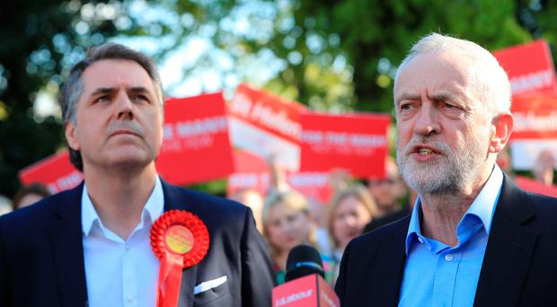 Labour leader Jeremy Corbyn in Liverpool meeting Steve Rotheram, after he was elected as the Liverpool City Region metro mayor. (Peter Byrne/PA Wire)