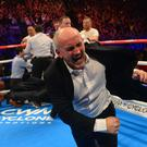 Barry McGuigan celebrates after Carl Frampton stops Chris Avalos