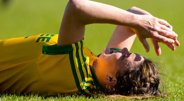 Heartbreak: Niamh Hegarty is dejected at the finish. Photo: Tom Beary/INPHO