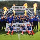 Just champion: Linfield celebrate their Irish Cup victory. Photo: Brian Little/PressEye