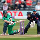 Good stroke: Ireland's Kevin O'Brien plays a shot. Thousands of Ireland enjoyed the trip to England to watch the two game series unfold. Photo: David Davies/PA