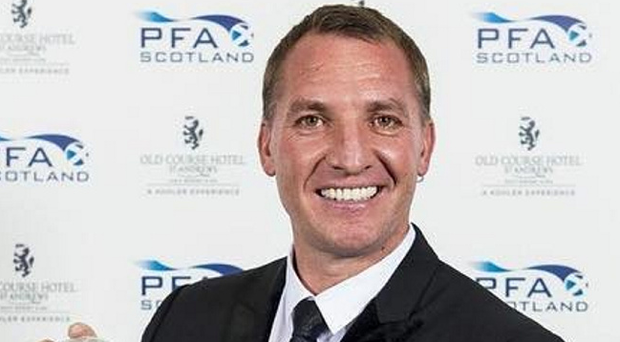 Top boss: Brendan Rodgers is all smiles after winning the PFA Scotland Manager of the Year award
