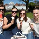 (L-R) Clare Miller, Sion Mills, Emma Arkinson, Killyclougher Roisin Campbell, Dungannon and Cathy O'Neill Dungannon, enjoy the sunshine in Botanic Gardens. Photograph By Declan Roughan Presseye