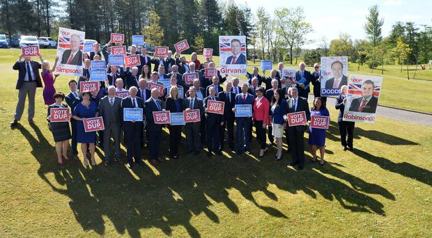 DUP Party Leader Arlene Foster with candidates and supporters during the Launch of the DUP's General election campaign launch at the Castlereigh Hills Golf in East Belfast on Monday, ahead of the election on the 8th of June. Pic Colm Lenaghan/Pacemaker