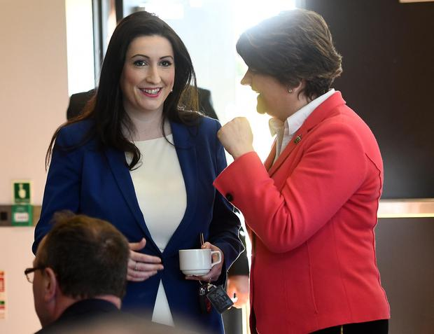 Pacemaker Press 8/5/2017 DUP Party Leader Arlene Foster and Emma Little Pengelly during the Launch of the DUP's General election campaign launch at the Castlereigh Hills Golf in East Belfast on Monday, ahead of the election on the 8th of June. Pic Colm Lenaghan/Pacemaker
